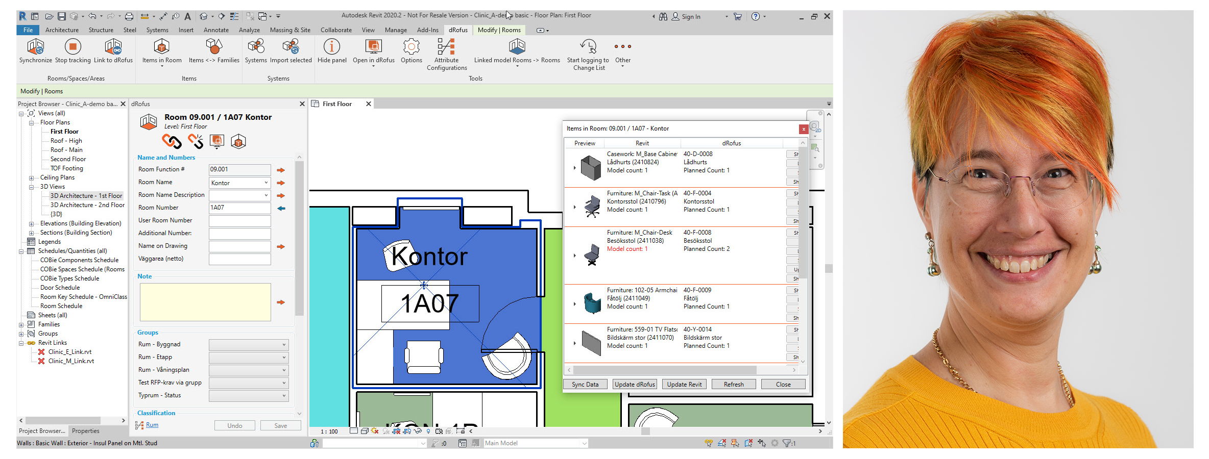 Revit items in room and Annika